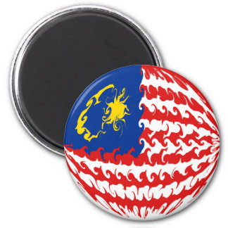 Malaysia Gnarly Flag 2 Inch Round Magnet