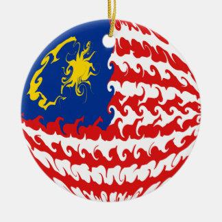 Malaysia Gnarly Flag Ceramic Ornament