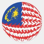 Malaysia Gnarly Flag Classic Round Sticker