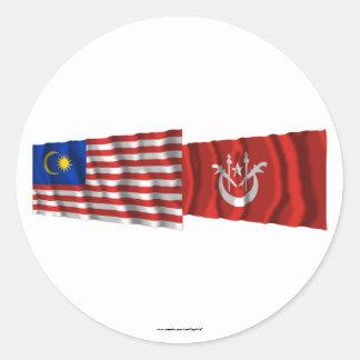 Malaysia & Kelantan waving flags Classic Round Sticker