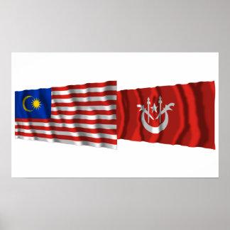 Malaysia & Kelantan waving flags Poster