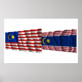 Malaysia & Kuala Lumpur waving flags Poster