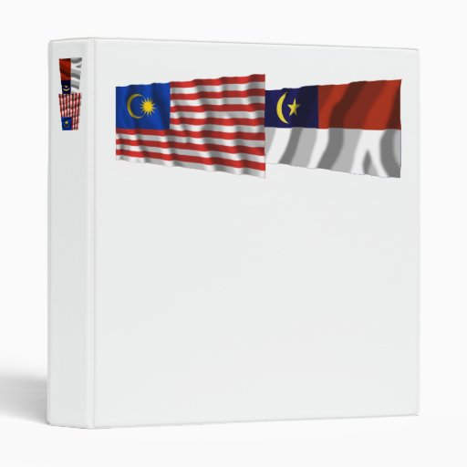 Malaysia & Melaka (Malacca) waving flags Vinyl Binders