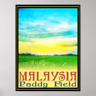 Malaysia - Paddy Field Poster