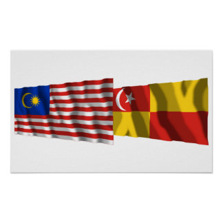 Malaysia & Selangor waving flags Poster