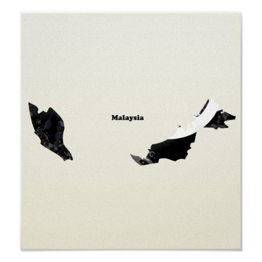Malaysia Trendy Peace Sign with Malaysian map Poster
