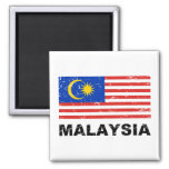 Malaysia Vintage Flag 2 Inch Square Magnet