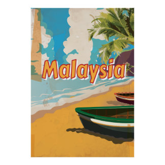 Malaysia Vintage vacation Poster