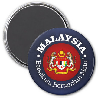 Malaysia with Motto 3 Inch Round Magnet