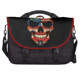 Malaysian Flag Skull on Black Laptop Computer Bag