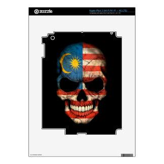 Malaysian Flag Skull on Black Skins For iPad 3