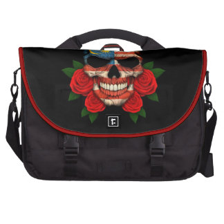 Malaysian Flag Skull with Red Roses Bag For Laptop