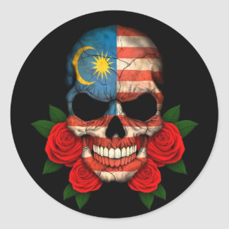 Malaysian Flag Skull with Red Roses Classic Round Sticker