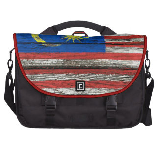 Malaysian Flag with Rough Wood Grain Effect Laptop Bags