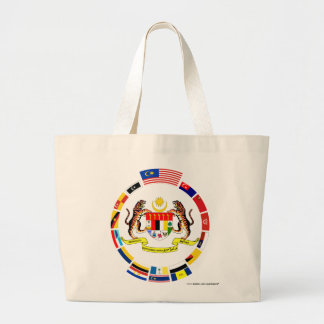 Malaysian Flags with Arms Large Tote Bag