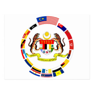 Malaysian Flags with Arms Postcard