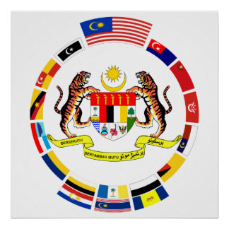 Malaysian Flags with Arms Poster