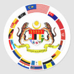 Malaysian Flags with Arms Round Stickers