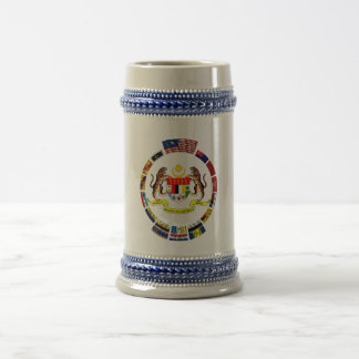 Malaysian waving flags with arms beer stein