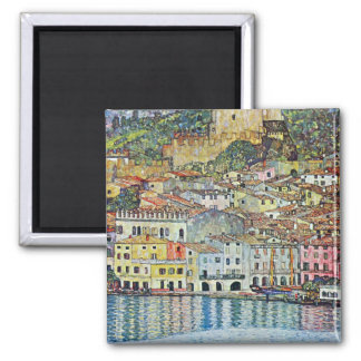 Malcena at the Gardasee by Gustav Klimt 2 Inch Square Magnet