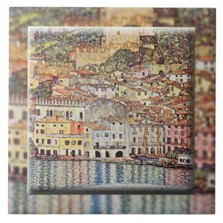 Malcesine en el lago Garda (1913) Azulejo Cuadrado Grande