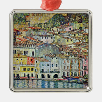 Malcesine en el lago Garda por Klimt, arte Nouveau Adorno Cuadrado Plateado