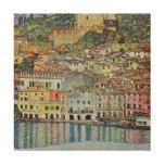 Malcesine en el lago Garda por Klimt, arte Nouveau Impresión En Madera