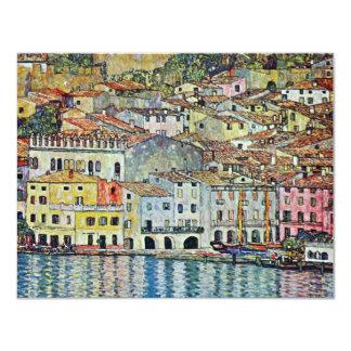 Malcesine en el lago Garda por Klimt, arte Nouveau Invitación 10,8 X 13,9 Cm