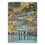 Malcesine en el lago Garda por Klimt, arte Nouveau Tarjeta De Felicitación