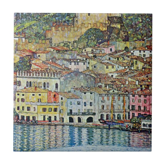 Malcesine on Lake Garda By Gustav Klimt Tile