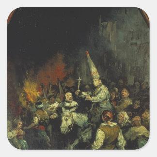 Maldecido por la inquisición pegatina cuadrada