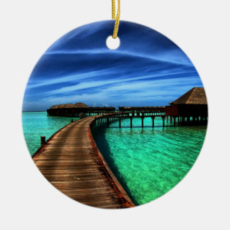 MALDIVES 2 Double-Sided CERAMIC ROUND CHRISTMAS ORNAMENT
