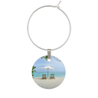 Maldives Beach Wine Glass Charm