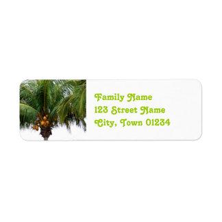 Maldives Coconut Palm Return Address Label