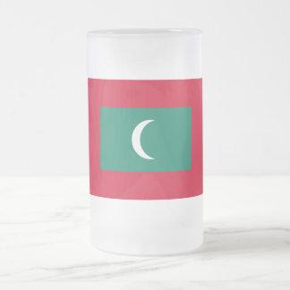 Maldives Flag Frosted Glass Beer Mug