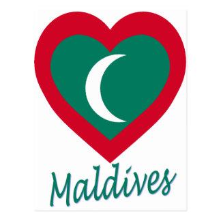 Maldives Flag Heart Postcard