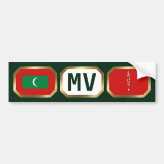 Maldives Flag Map Code Bumper Sticker Car Bumper Sticker