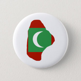 Maldives Flag Map full size Pinback Button