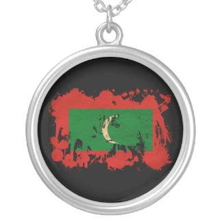 Maldives Flag Round Pendant Necklace