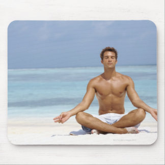 Maldives, Handsome young man meditating in a Mouse Pad