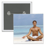 Maldives, Handsome young man meditating in a Pinback Button