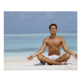 Maldives, Handsome young man meditating in a Poster