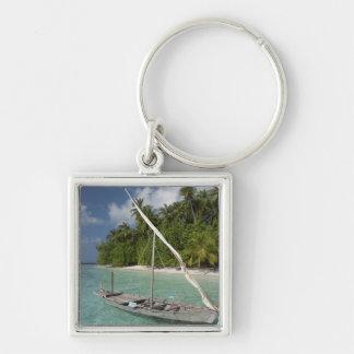 Maldives, North Male Atoll, Island of Kuda Silver-Colored Square Keychain