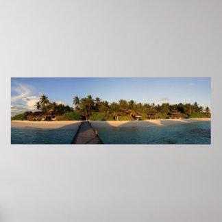 Maldives - Panorama of tropical island Kandolhu Poster