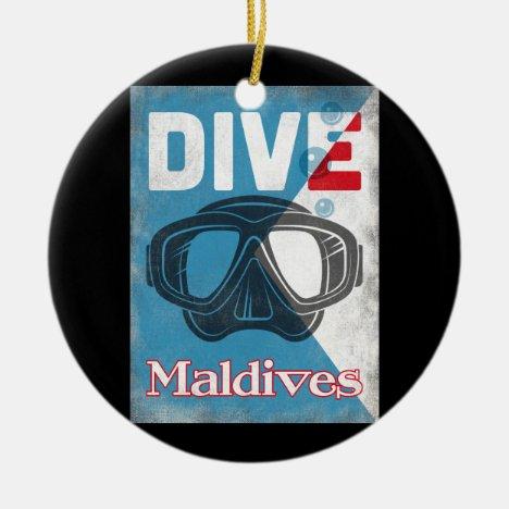 Maldives Vintage Scuba Diving Mask Ceramic Ornament