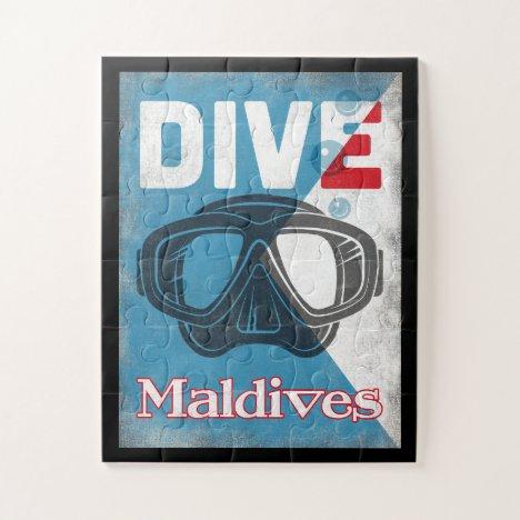 Maldives Vintage Scuba Diving Mask Jigsaw Puzzle