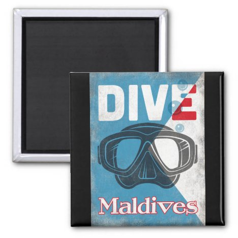Maldives Vintage Scuba Diving Mask Magnet