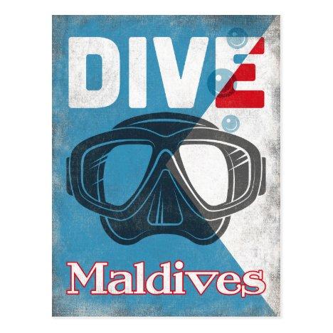 Maldives Vintage Scuba Diving Mask Postcard