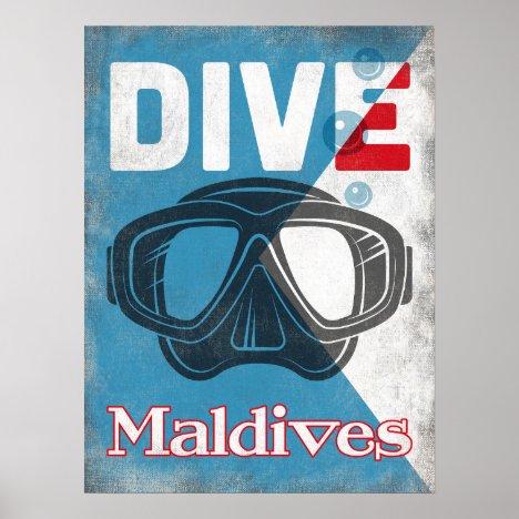 Maldives Vintage Scuba Diving Mask Poster