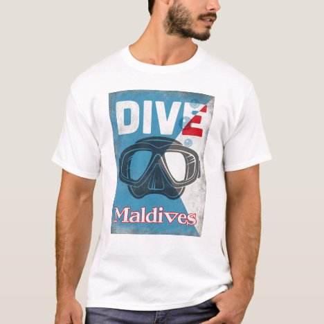 Maldives Vintage Scuba Diving Mask T-Shirt